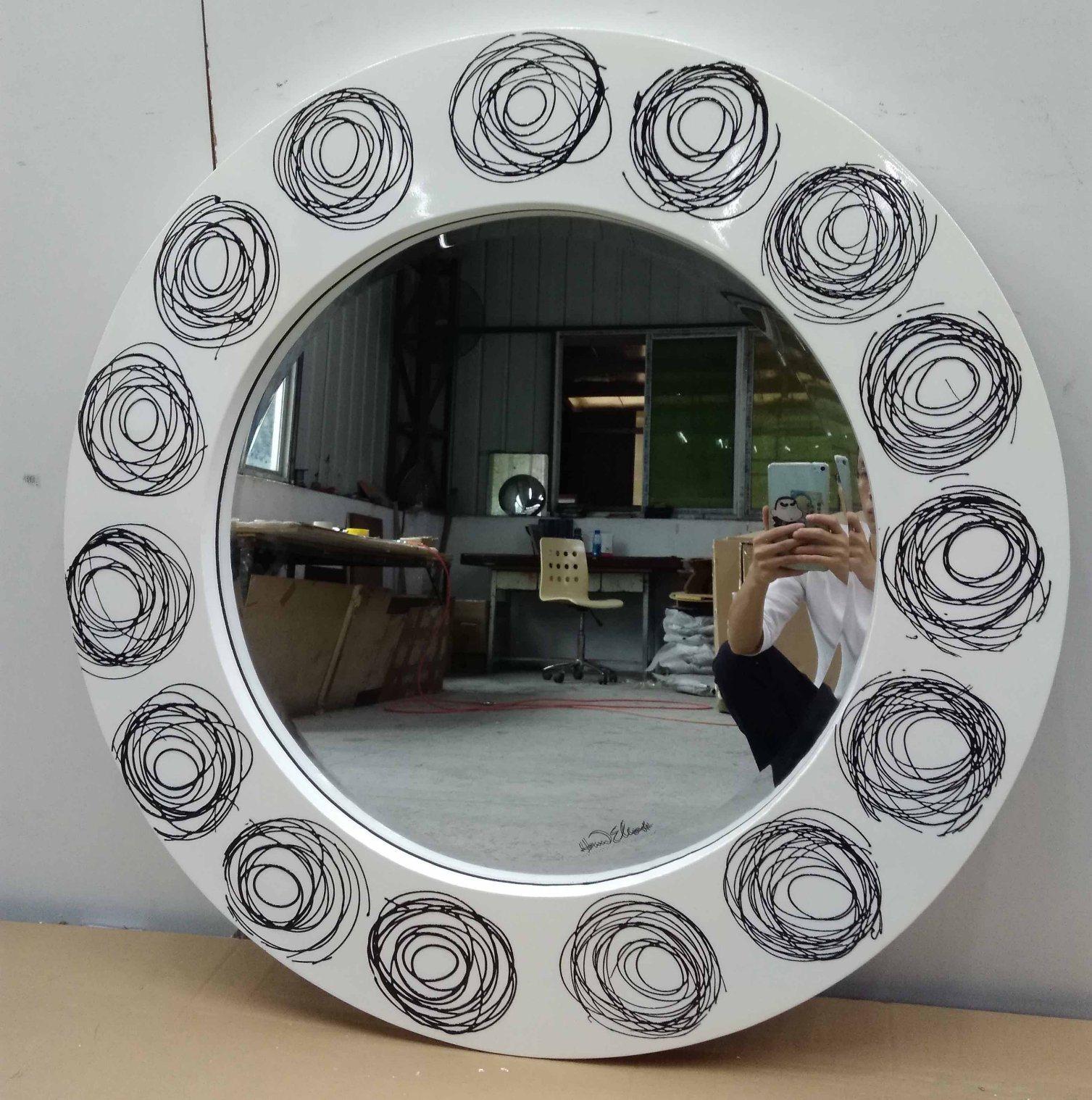 Loops Art Round Modern Decorative Wall Mirror (LH-M17012)