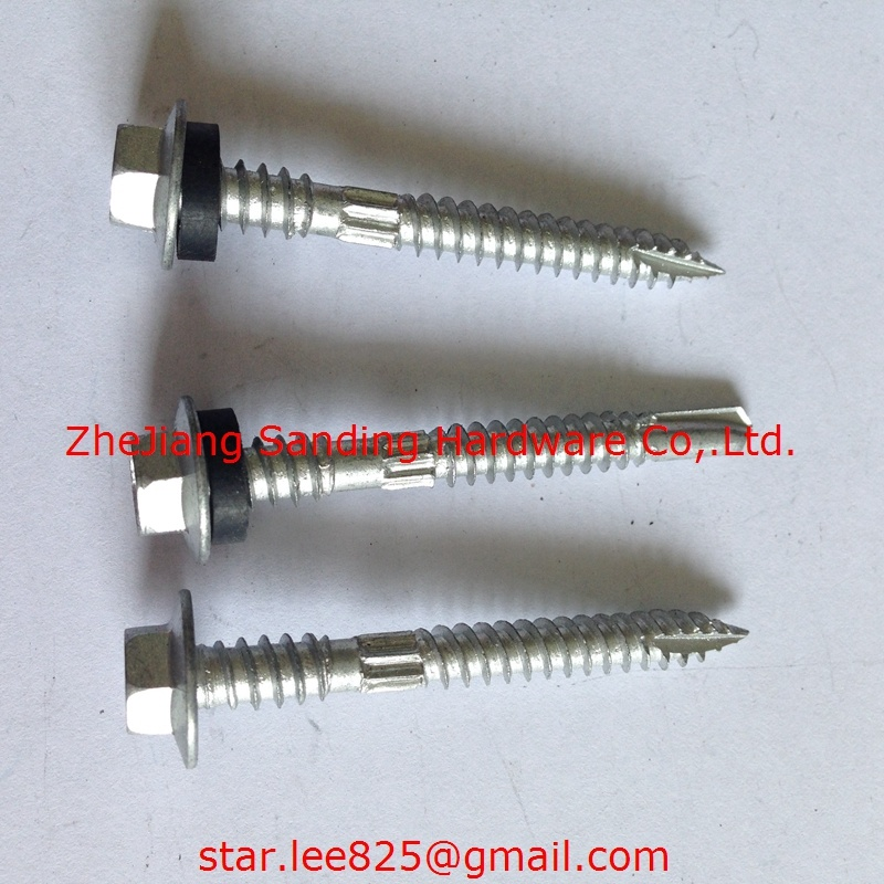 Hex Head with Nylon Washer Zinc Plated Harden Special Self Drilling Screws