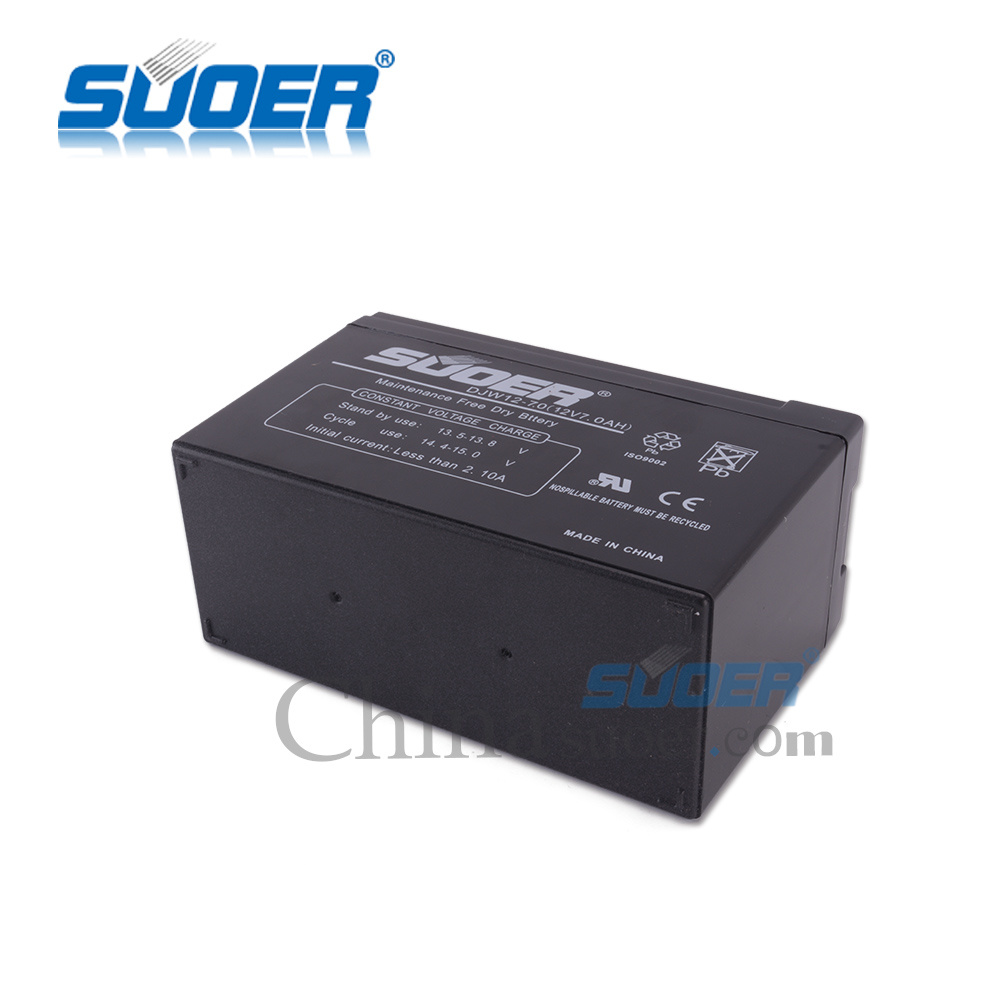 Suoer Factory Price Storage Battery 7A Maintenance Free Dry Battery 12V Solar Storage Li Ion Battery (00220279)