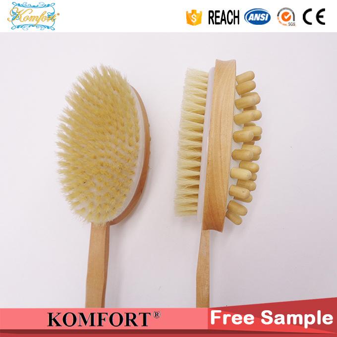 Wood Long Handle Bath Body Back Skin Bristle Massage Brush (JMHF-125)