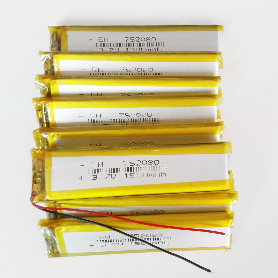3.7V 1500mAh 752080 Lithium Polymer Lipo Rechargeable Battery Cells for Pad GPS PSP video Game E-book Bluetooth
