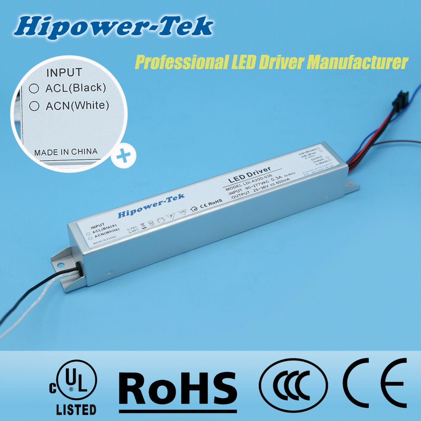 20W Constant Current Aluminum Case Dimmable Power Supply LED Driver