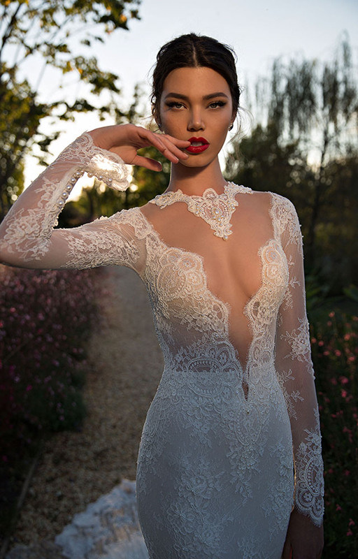 2017 Stunning Long Sleeves Mermaid Lace Wedding Dress (Dream-100004)