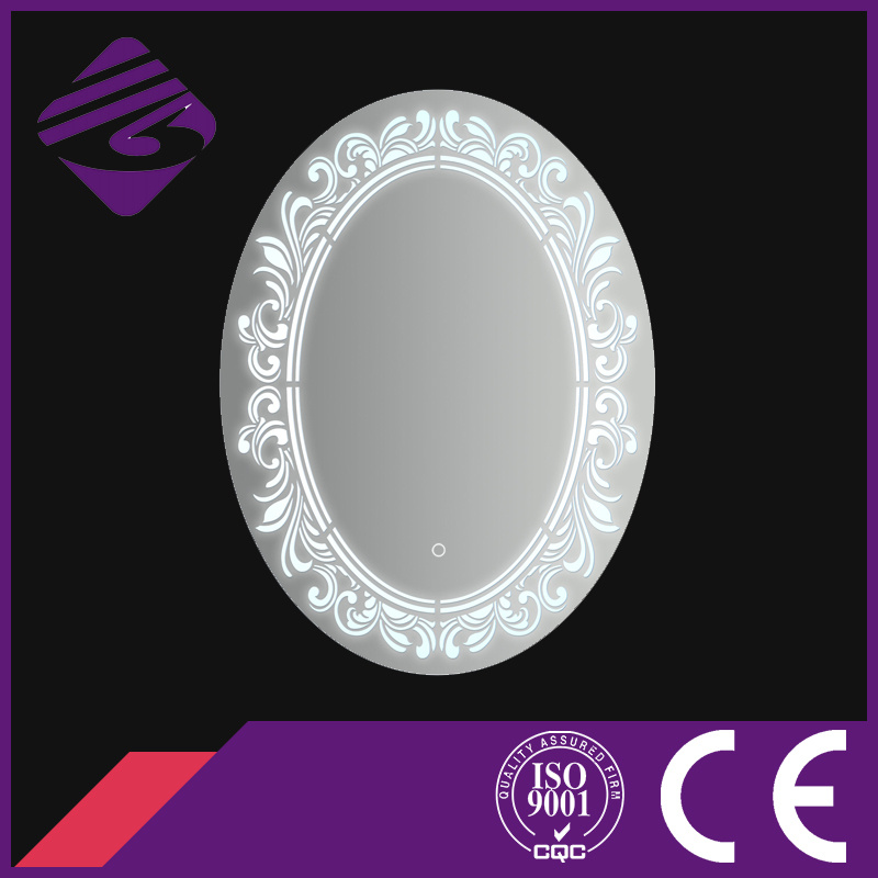 Jnh226 Home Hot Sale Oval Bathroom Furniture Mirror with Clock