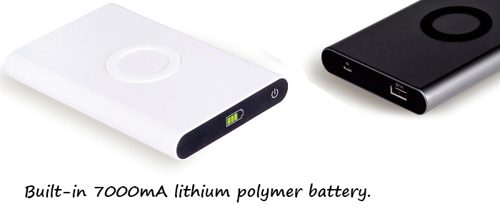 China Power Bank Wireless Charger From Factory, Built-in 7000mA Lithium Polymer Battery