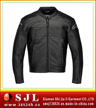amarican varsity black pu leather motorcycle overcoat winter jackets