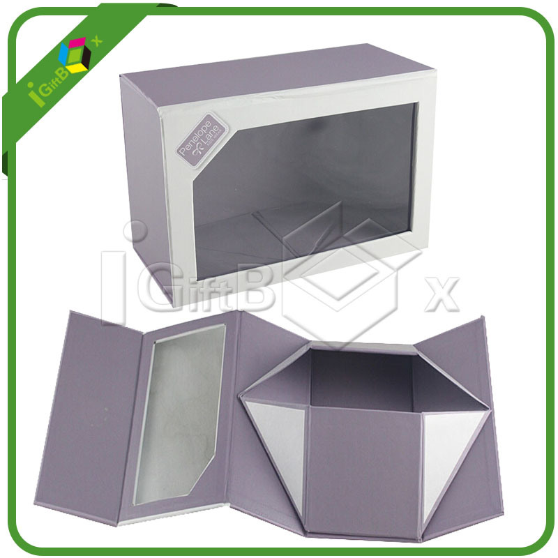 Flat Packed Magnetic Closure Paper Foldable Gift Box with Ribbon