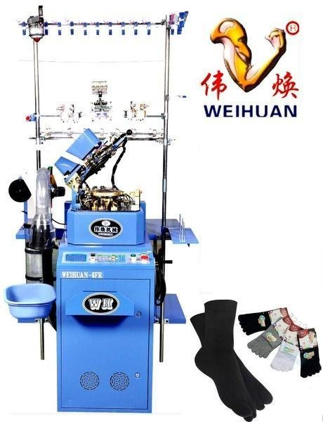 Weihuan (WH) 3.75 Inch Computerized Socks Knitting Machine for Weaving Terry and Plain Feather Yarn Woolen Socks (WH-6F-R)