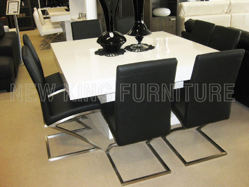 Modern Big Size Cheap Dining Set Dining Furniture White High Gloss Wood Dining Table (NK-DT069)