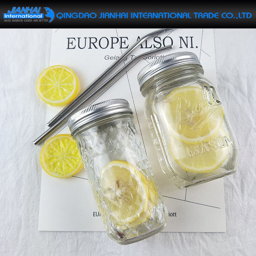 Rounded Transparent Glass Bottle Mason Glass Jar