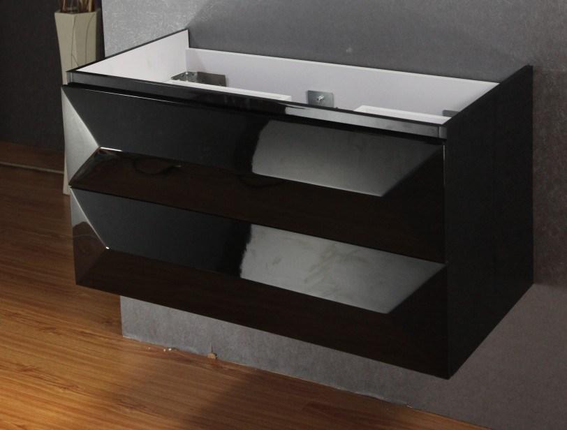 Hot Sale Modern Black MDF Bathroom Cabinet with Sink (SW-1316)