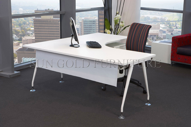China White L Shape Office Desk, Modern Office Executive Table (SZ ...