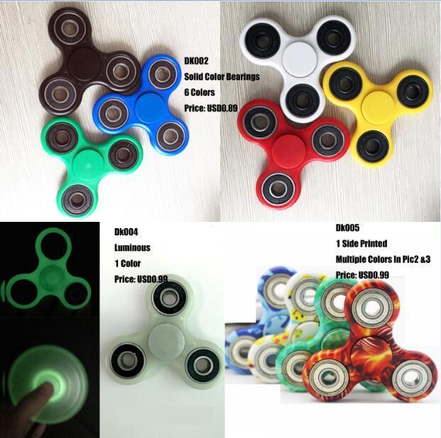 LED Light Fidget Spinner Hand Spinner Finger Spinner Toys EDC Tri Digit Air Aluminum Brass Finger Gyro Copper Gold Alloy Spinner