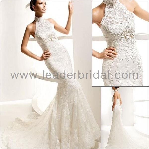 china choker high neck white lace mermaid bridal wedding