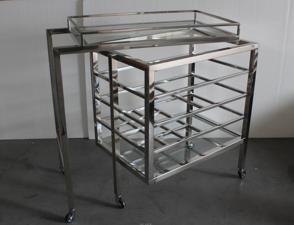 Luxury Bar Furniture Stainless Steel Trolley, Wine Cart