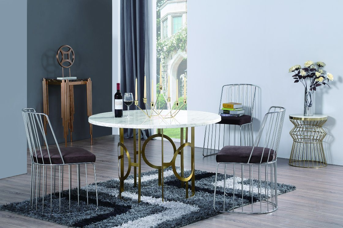 OEM Stainless Steel Dining Table with Marble Table Top