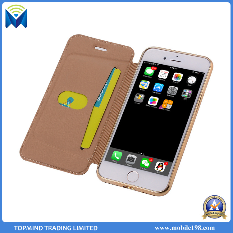 Electroplating Chrome TPU and Leather Wallet Phone Case with Card Slots Kickstand for iPhone 5s 6s 7 7 Plus