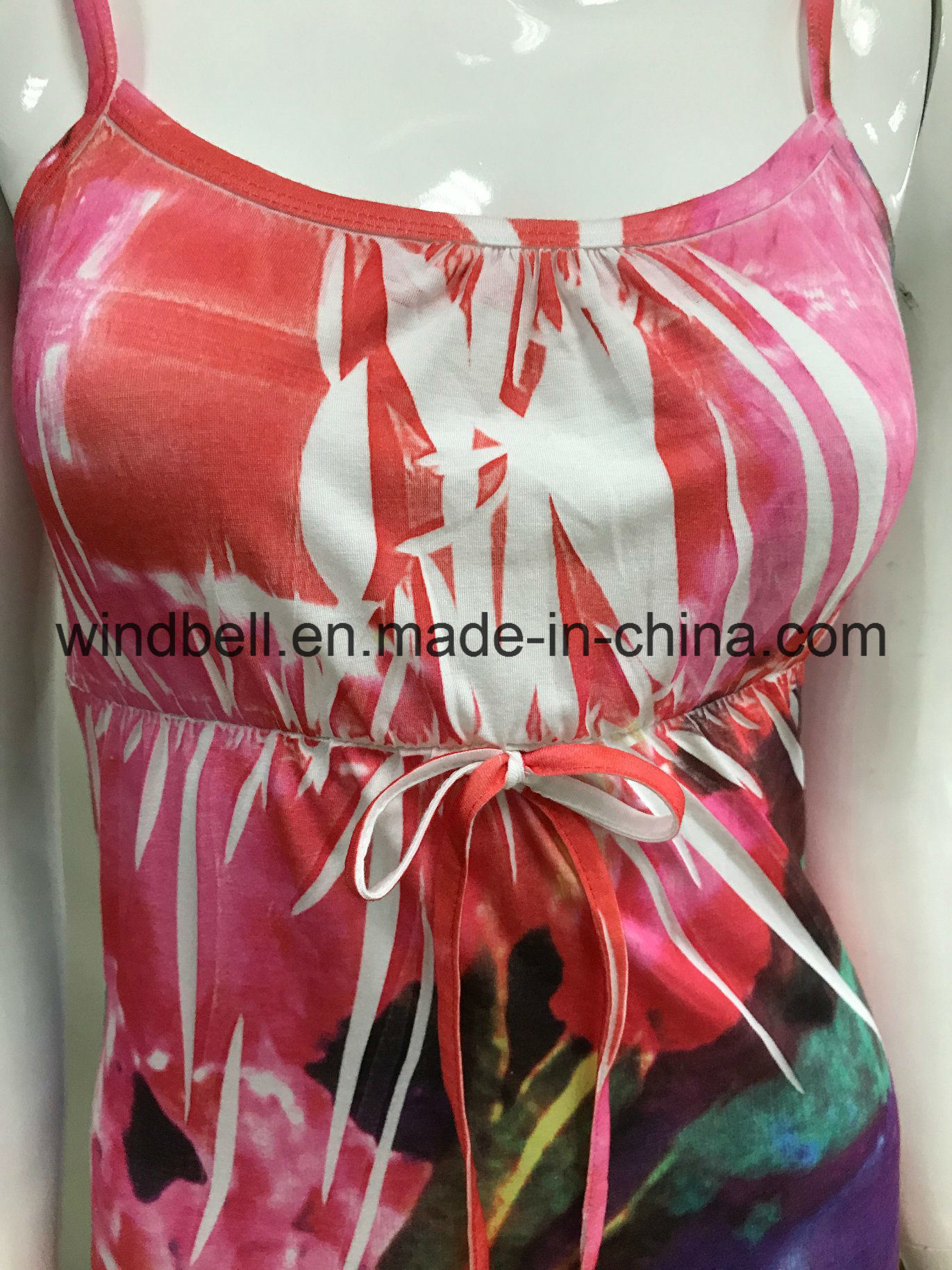 Womens Slip Dress with Garment Crumple and Sublimation Printing