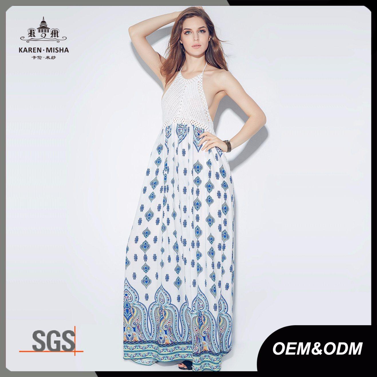 Halter Neck Handmade Crochet Beach Maxi Long Dresses