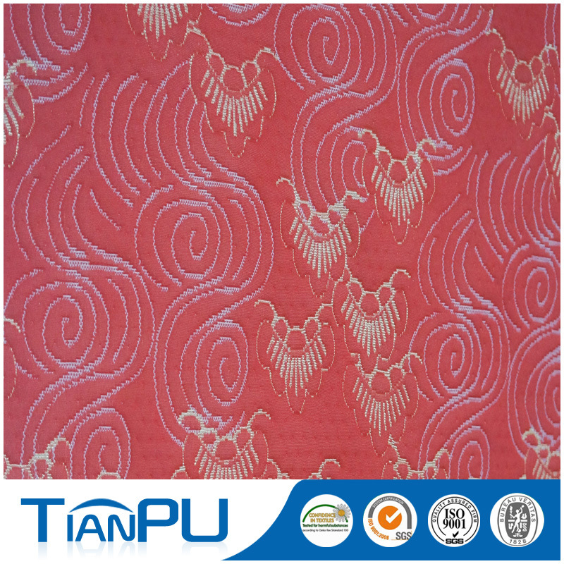 China Red Contoured Pattern Waterproof Jacquard Fabric Textiles