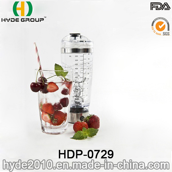 600ml Portable Plastic Vortex Protein Bottle, BPA Free Plastic Electric Shaker Bottle (HDP-0729)