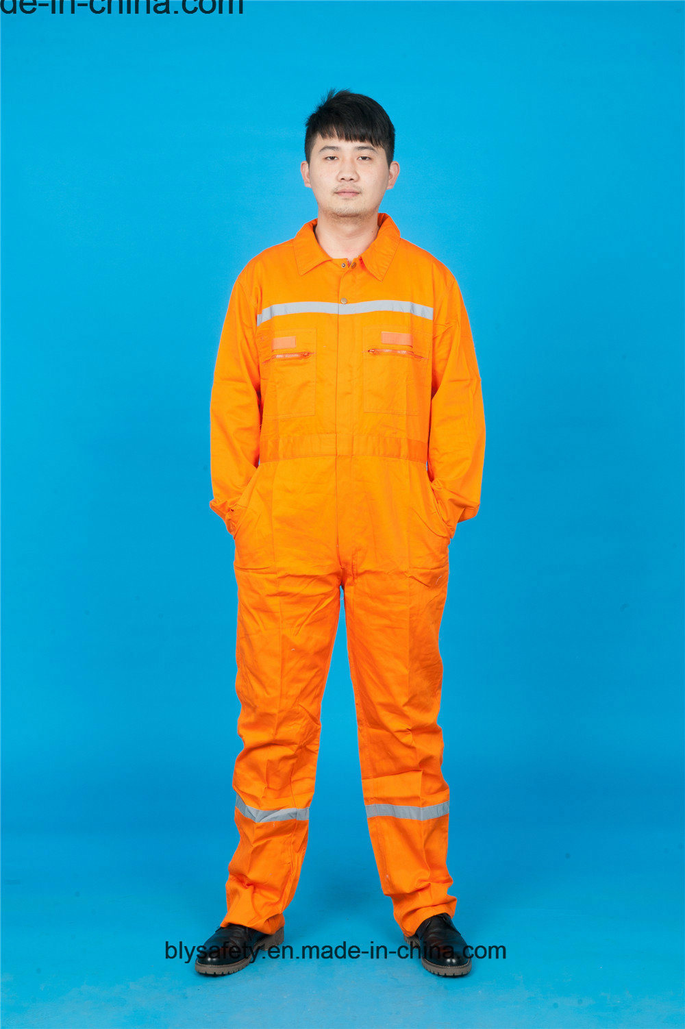 65% Polyester 35%Cotton Long Sleeve Safety with Reflective Coverall (BLY1017)