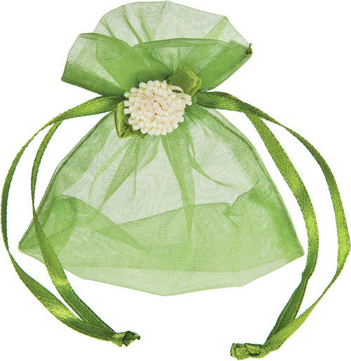 Green Organza Pouch with Flower Decoration