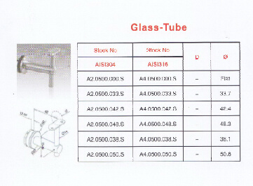 Stainless Steel Handrail Support Glass-Tube
