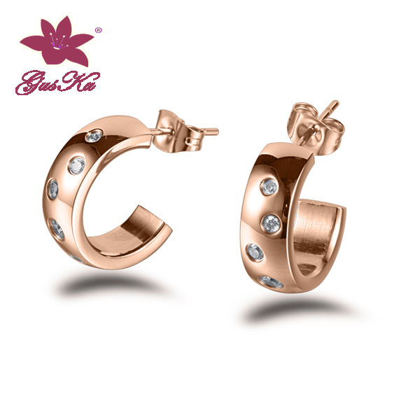 CZ Stones Stainless Steel Fashion Pearl Earrings