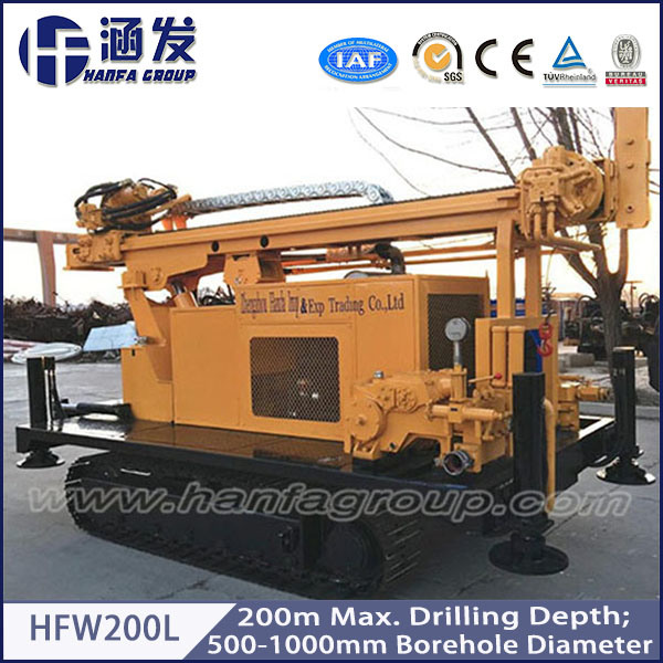 200m Depth! Hfw200L Track Type Water Well Drilling Rig, Pile Driver