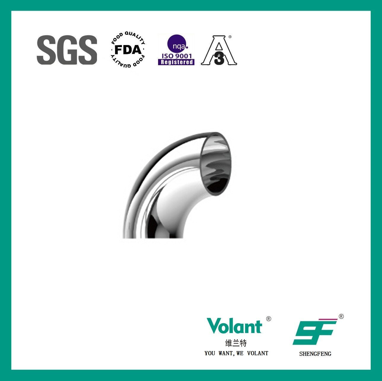 Stainless Steel Sanitary 90d Welded Elbow (SF1000003)
