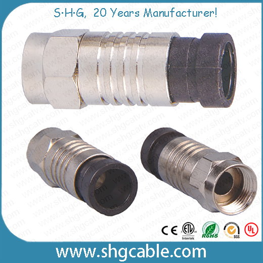 F Compression Connector for RF Coaxial Cable Rg59 RG6 Rg11
