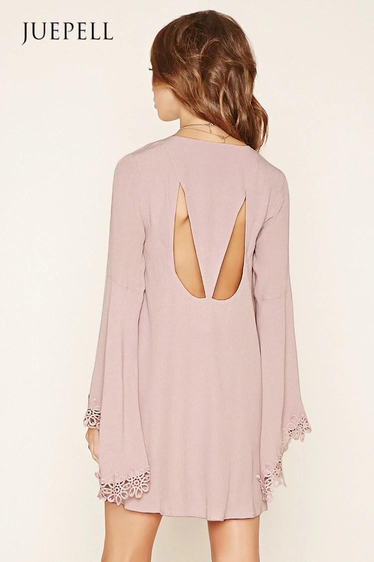 Fashion Crochet-Trim Mini Dress