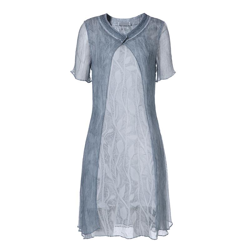 Silk Dress Women Double Layers Short Sleeves Casual Ladies Dress Garment