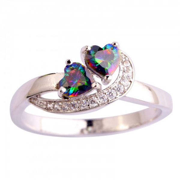 925 Sterling Silver Rings Jewelry with Color Gemstone