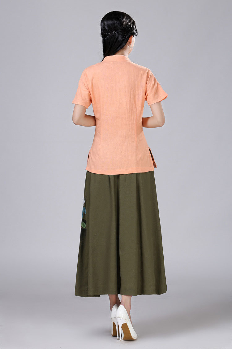 Hand Painted Linen Pleated Long Skirt for Japanese Clothing