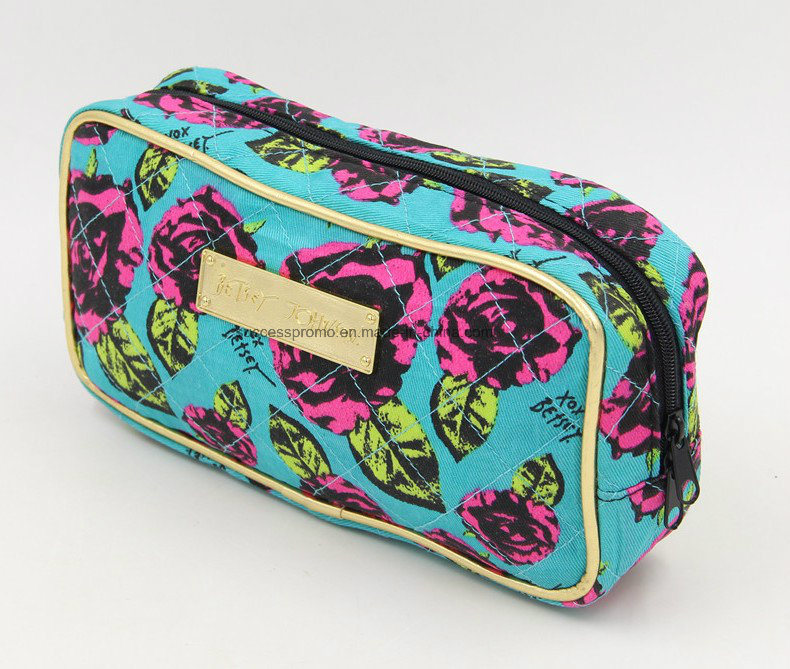 Custom Printed Twill Cloth Toilet Cosmetic Bag with Quilting
