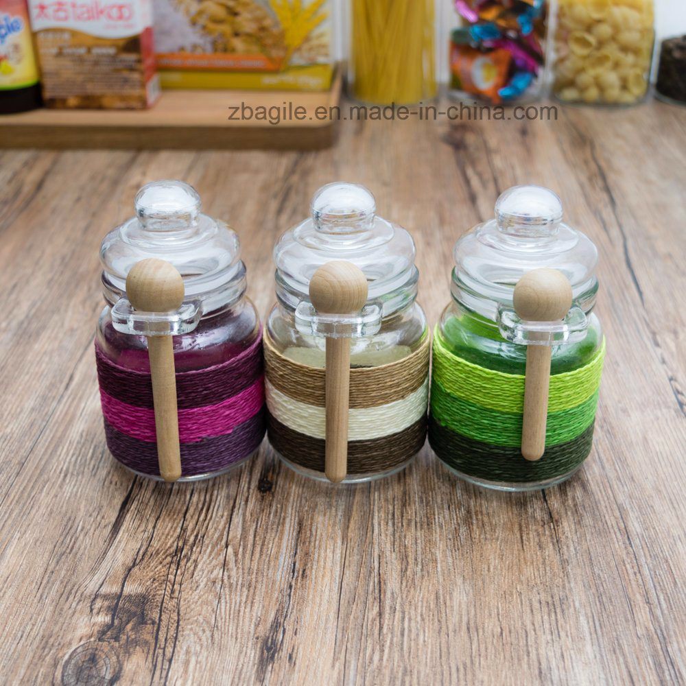 Factory Price Wholesale Colorful Design Storage Spice Salt Glass Jar (100015)