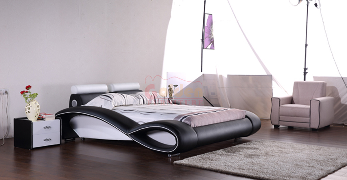 China New Design Hot Sell Bedroom Bed White Leather
