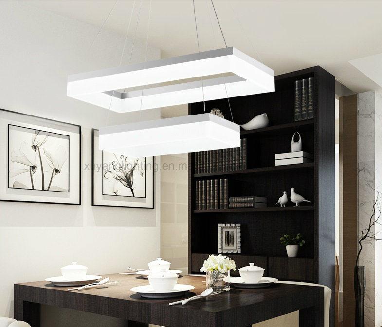 Rectangular Pendant Light, Double Layer LED Pendant Lamp