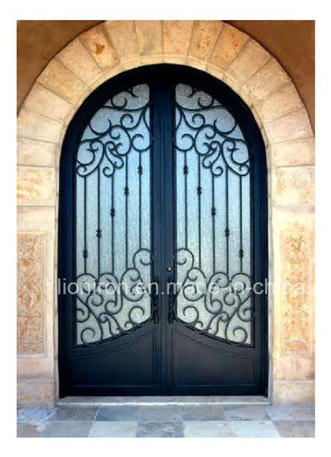 Artistical Hand-Forged Round Top Wrought Iron Main Doors