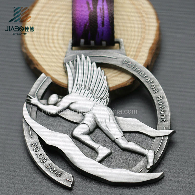 Jiabo Supply Custom Cut out Antique 3D Sports Metal Medal with Ribbon (JIABO-JP1071)