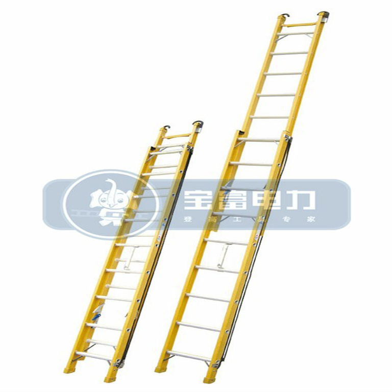 (375LBS) 35kv Yellow Fiberglass Single-Side Grooved Rail Extension Ladder