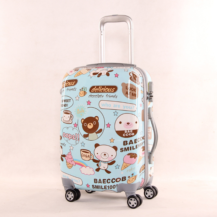 Cartoon Printed Hard Luggage Suitcase 3 Pieces PC + ABS Trolley Bag