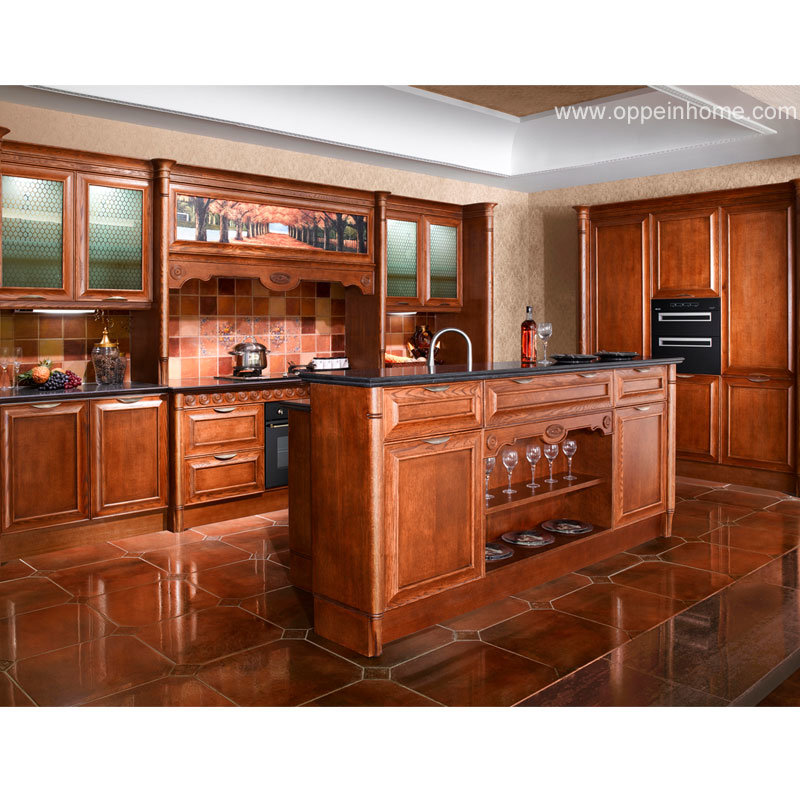 China oppein red oak solid wood kitchen cabinet op11 l054 for Solid wood kitchen cabinets