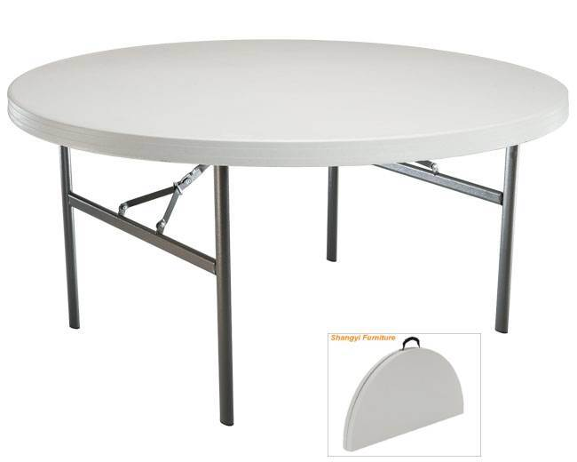 72 in Round Plastic Banquet Folding Table (White) (SY-183ZY)