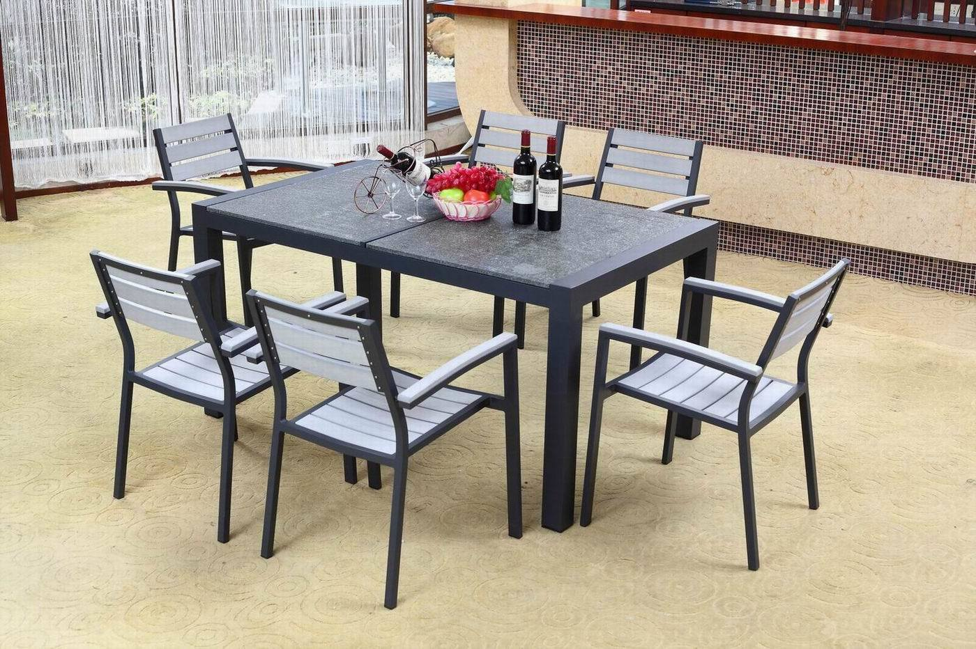 Outdoor Furniture Plastic Wood Dining Set Bz P014 Photos