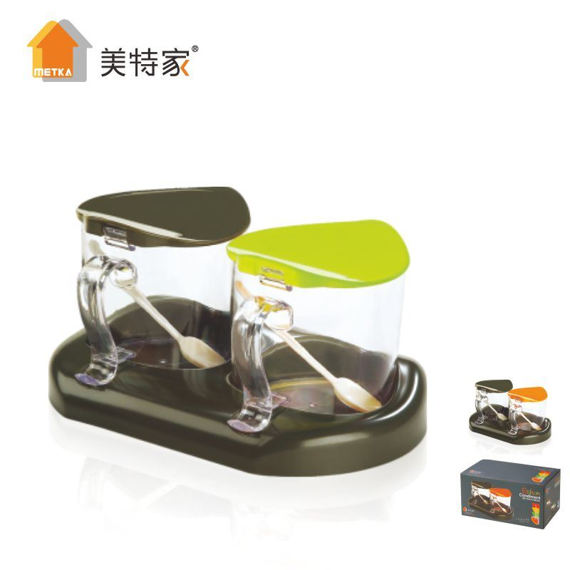 Metka Kitchen Fashion Style Condiment Dispenser Seasoning Box 2 Cans