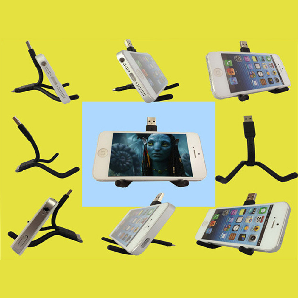 Stand Bend Twig Micro Lighting 8 Pin Fast Charger Cable USB Holder Cable for iPhone Samsung Galaxy HTC Android Mobile Cell Phone
