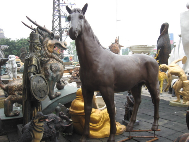 Copper Horse (large / small) , Outdoor Garden Metal Animal Decoration, Interior Decoration